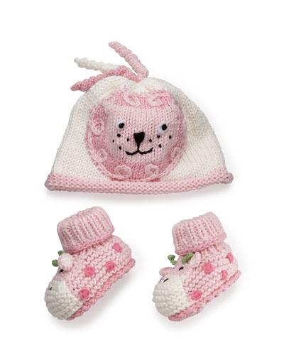 Cotton Jungle Hat & Bootie Set, Pink