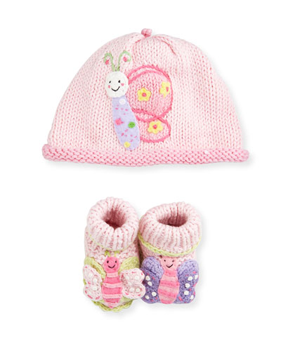 Cotton Butterfly Hat & Booties Set, Pink