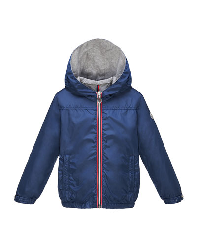 Urville Jersey-Lined Hooded Jacket, Dark Blue, Size 2-6