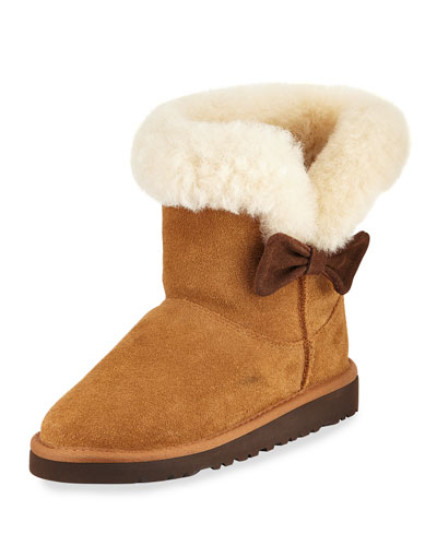 Kourtney Suede Short Boot, Chestnut, Youth
