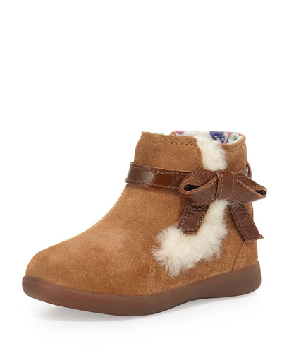 Libbie Suede Bootie with Bow, Chestnut, Toddler