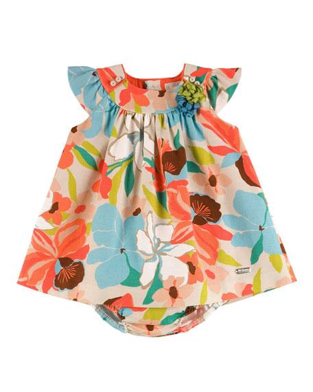 Pili Carrera Sleeveless Canvas Floral Shift Dress w/