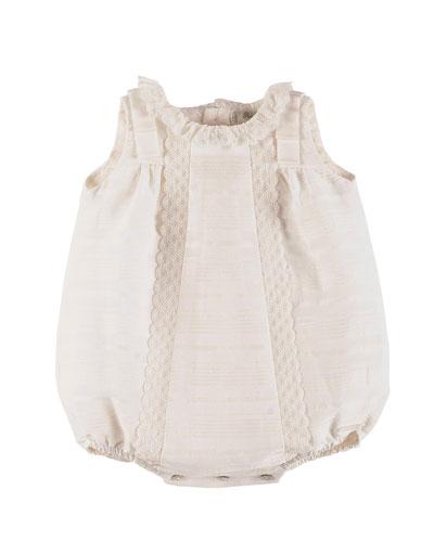 Sleeveless Lace-Trim Linen Bubble Playsuit, Ivory, Size Newborn-6 Months