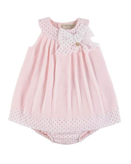 Pili Carrera Sleeveless Pleated Eyelet-Trim Shift Dress w/ Bloomers, Pink, ...