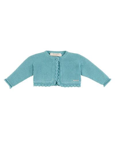 Long-Sleeve Scalloped Cotton Bolero, Teal, Size 3M-2