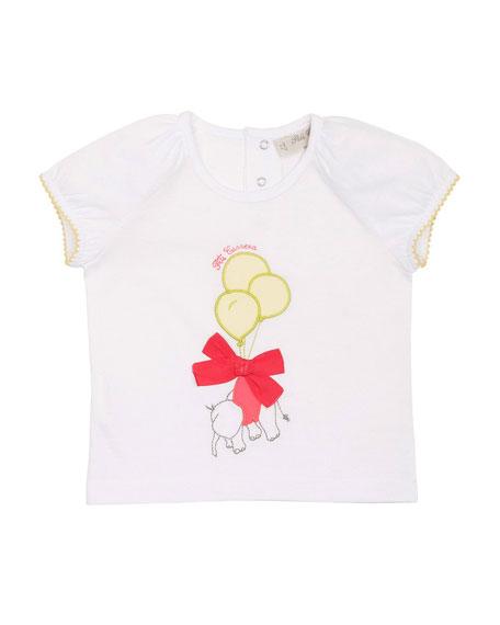 Pili Carrera Cap-Sleeve Elephant Jersey Tee, White, Size