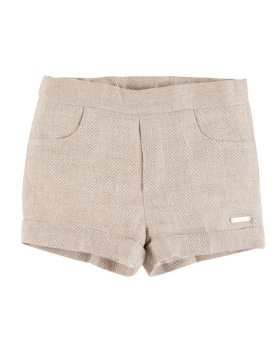 Cuffed Linen Textured Shorts, Taupe, Size 6M-3