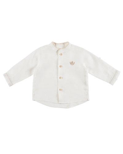 Long-Sleeve Linen Button-Front Shirt, Ivory, Size 6M-3