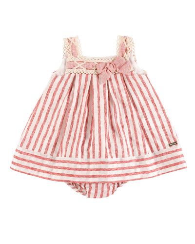 Sleeveless Striped Pleated Dress w/ Bloomers, Red/Ivory, Size 6M-3