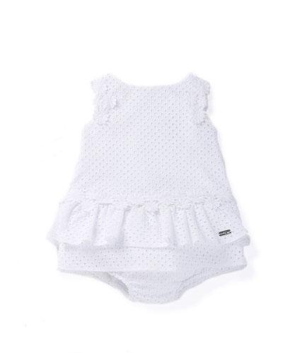 Sleeveless Eyelet Shift Dress w/ Bloomers, White, Size 6M-3