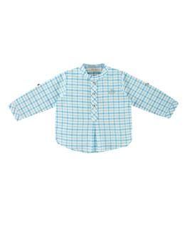 Long-Sleeve Plaid Henley Shirt, Teal, Size 6M-3