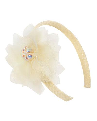 Floral Basketweave Headband, Yellow