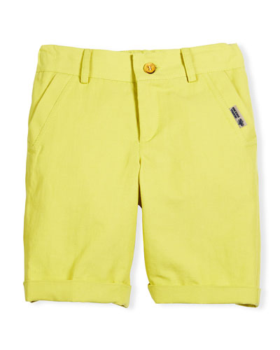 Linen-Blend Bermuda Shorts, Yellow, Size 4-10