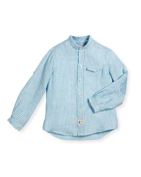 Long-Sleeve Linen Button-Front Shirt, Teal, Size 4-10