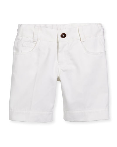 Cotton Twill Straight-Leg Shorts, White, Size 4-10