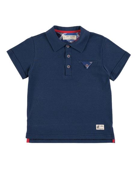 Pili Carrera Short-Sleeve Jersey Polo Shirt, Blue, Size