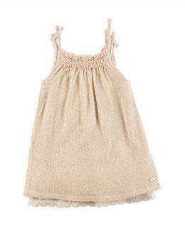 Sleeveless Embroidered Metallic Shift Dress, Cream, Size 2-6