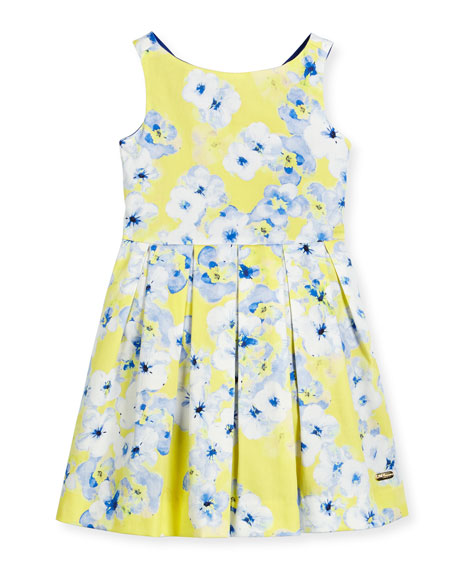 Pili Carrera Sleeveless Floral Pleated Dress, Yellow/Blue, Size 2-12