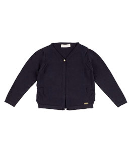 Cotton Bow-Trim Cardigan, Navy, Size 2-12