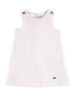 Eyelet Racerback Shift Dress, White, Size 4-12