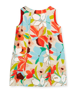 Sleeveless Floral Canvas Shift Dress, Multicolor, Size 4-12