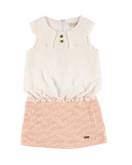 Pili Carrera Sleeveless Collared Combo Dress, Ivory, Size
