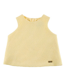 Sleeveless Boxy Textured Top, Yellow, Size 4-12