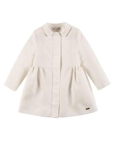 Textured Empire-Waist Coat, White, Size 4-12