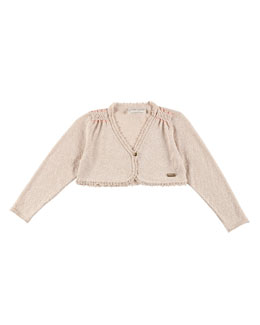 Long-Sleeve Scalloped Bolero, Cream, Size 2-6