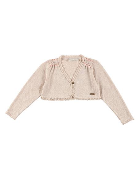 Pili CarreraLong-Sleeve Scalloped Bolero, Cream, Size 2-6