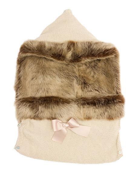 Wool Fur-Trim Sleep Sack, Stone