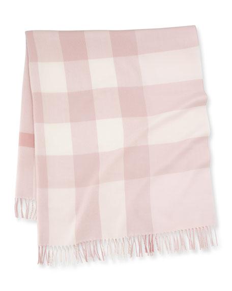 Burberry Mega-Check Merino Wool Baby Blanket, Powder Pink