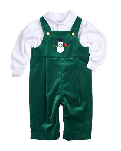 Velvet Snowman Overalls & Polo Shirt, Green, Size 3-24 Months