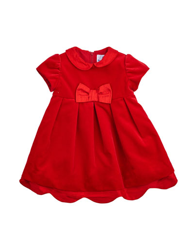 Pleated Cap-Sleeve A-Line Dress, Red, Size 2-4