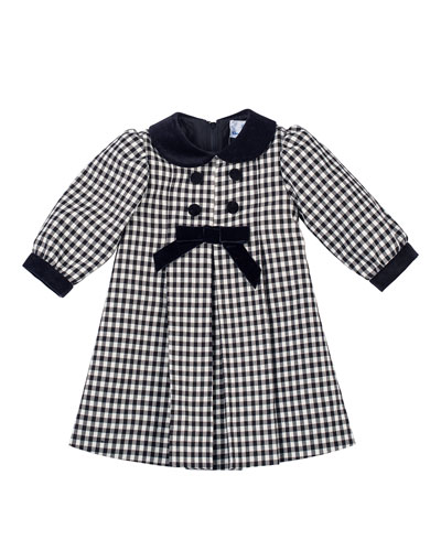Long-Sleeve Pleated Gingham Dress, Black/White, Size 2-4