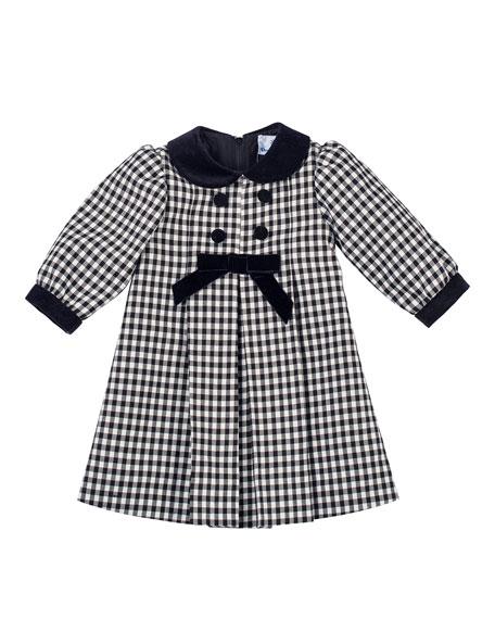 Florence Eiseman Long-Sleeve Pleated Gingham Dress, Black/White,