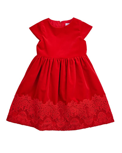 Lace-Trim A-Line Dress, Red, Size 7-14
