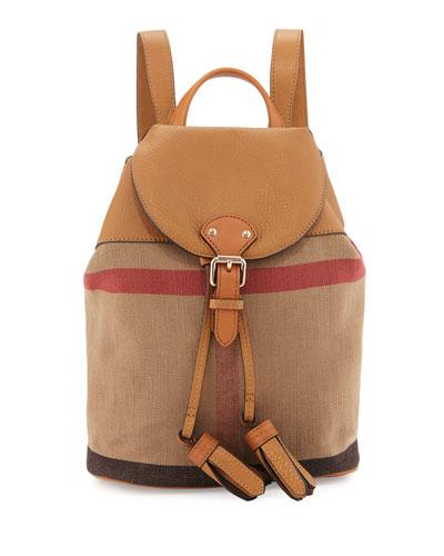 Girls' Mini Check Drawstring Backpack, Sand