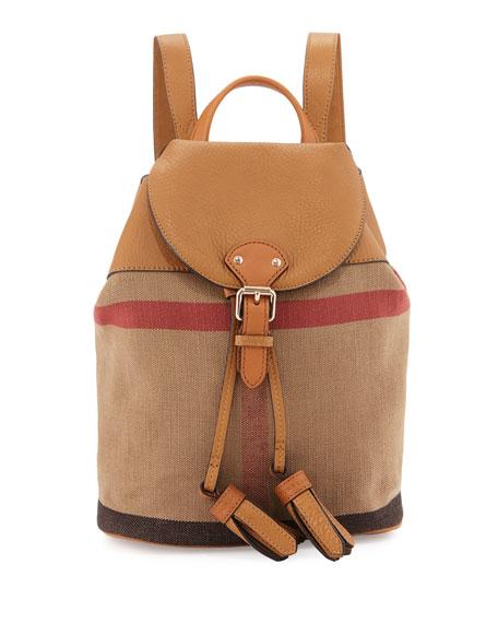 Burberry Girls' Mini Check Drawstring Backpack, Sand