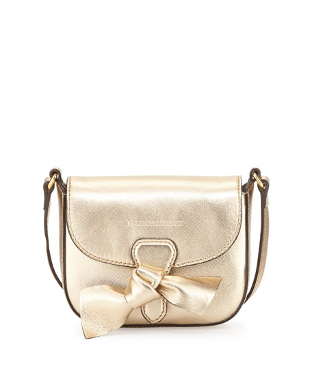 Burberry Girls' Mini Leather Crossbody Bag, Gold