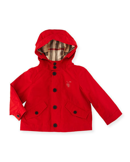 Burberry Arlie Hooded Rain Jacket, Red, Size 6M-3Y