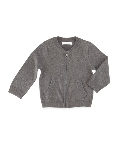 Jaxston Cotton Zip-Front Cardigan, Medium Gray, Size 6M-3Y