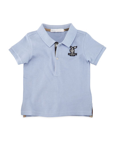 Palmer Cotton Pique Polo Shirt, Light Blue, Size 6M-3Y