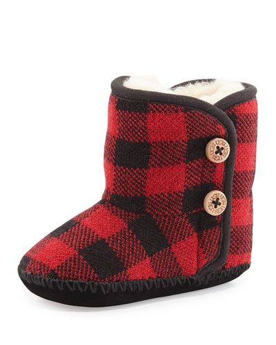 Check-Print Baby Bootie, Scarlet Check, Infant
