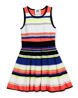Sleeveless Striped Fit-and-Flare Dress, Multicolor, Size 8-14