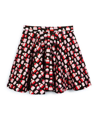 pastry-print circle skirt, black, size 7-14