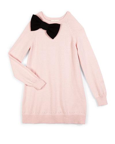 raglan bow-trim sweaterdress, pastry pink, size 7-14