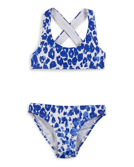 Milly Minis Shimmer Cheetah Cross-Back Swimsuit Set, Lapis,