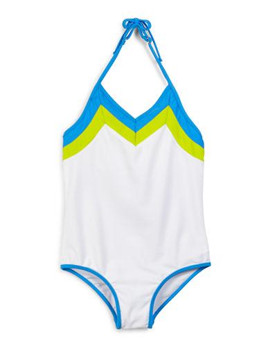 Amalfi Colorblock One-Piece Swimsuit, White, Size 8-14