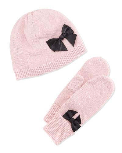 beanie & mittens gift set, strawberry cream